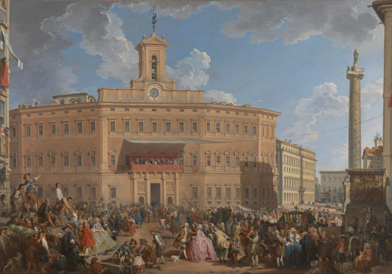 Giovanni Paolo Pannini. The lottery drawing in Piazza Montecitorio