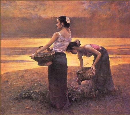 Шиан Динг. Закат на реке