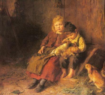 Феликс Шлезингер. Два ребенка играют с кроликом