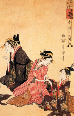 Kitagawa Utamaro. The scene on the bridge and Beld