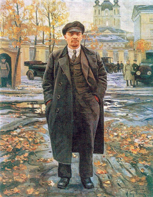 Isaac Brodsky. VI Lenin on the background of Smolny