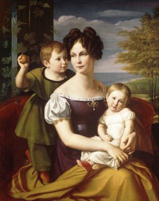 Фридрих Вильгельм фон Шадов. Портрет Великой княгини Александрины, принцессы Пруссии, с детьми