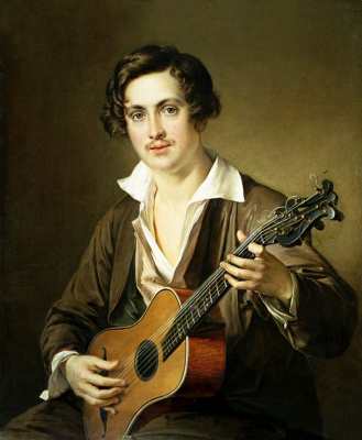 Vasily Andreevich Tropinin. Guitarist. Variant-repetition of the same pattern
