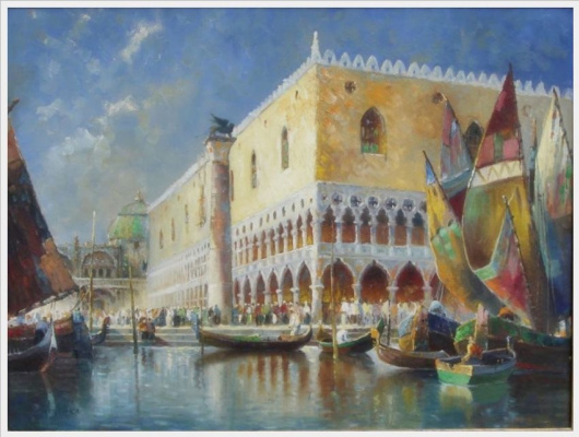 Einar Wegener (Lily Elbe). Image of gondolas and sailing boats on the canal before the Doge's Palace