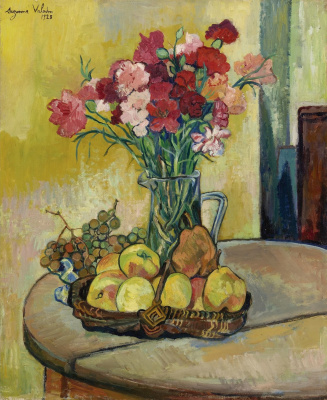 Suzanne Valadon. Basket of apples, a vase of flowers and grapes