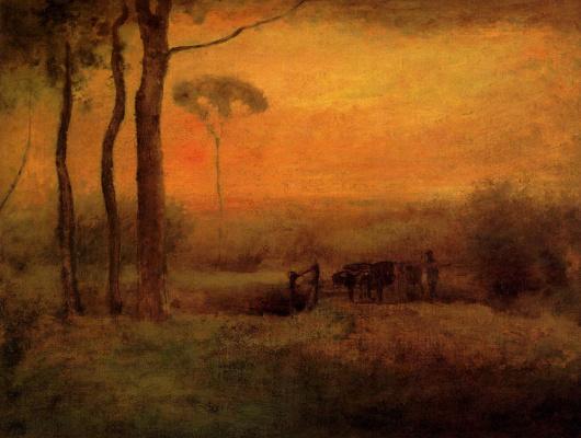 George Innes. Pastoral landscape at sunset