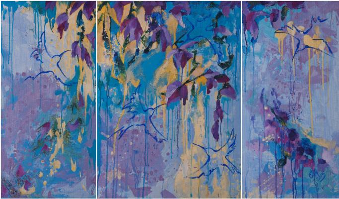 "Tanya Vasilenko. ""Hummingbird"", triptych, acrylic on canvas. Colibries. Triptych, all parts. Acrylic on canvas."