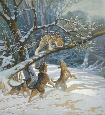 Eugene Alexandrovich Tikhmenev. Hunting the lynx. 1890