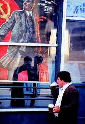 """Historical photos. Poster """"Lenin lived, Lenin lives, Lenin will live"""" in Odessa 1980s"""