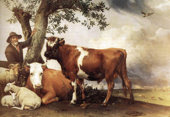 Paulus Potter. Cows and a shepherd