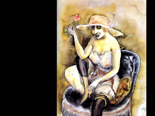 Otto Dix. Girl with a rose