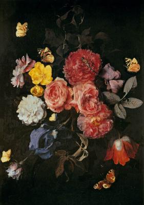 Ваза с цветами и бабочками