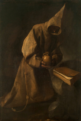 Francisco de Zurbaran. St. Francis during contemplation