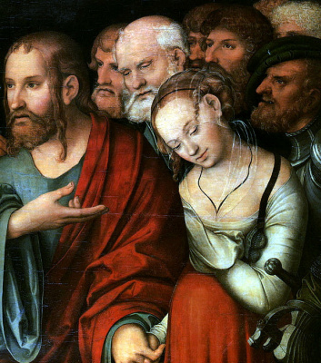 Lucas the Younger Cranach. Christ and the adulteress