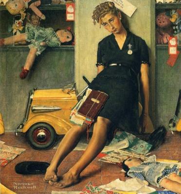 """Норман Роквелл. После рождественской суматохи. Обложка журнала """"The Saturday Evening Post"""" (27 декабря 1947 год)"""