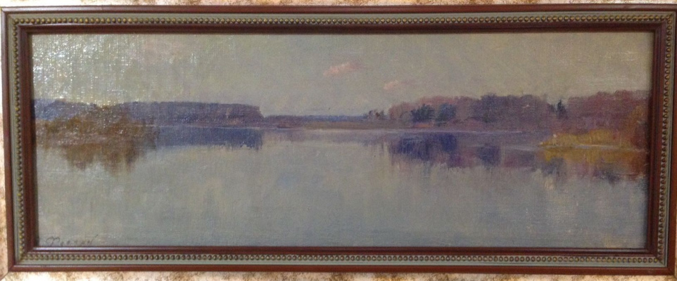 """Vyacheslav Andreevich Fedorov. """"Therefore Banka Black Lake.In the vicinity of the Academic garden."""", 1960s, oil on canvas on cardboard/oil, 19х50,5"""