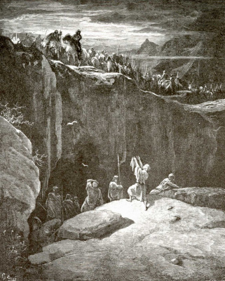 Paul Gustave Dore. Illustration to the Bible: David and Saul at the Al-Gaddi Cave
