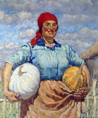 Ilya Ivanovich Mashkov. Collective farmer with pumpkins