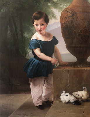 Francesco Ayets. Boy with pigeons. Portrait of Don Giulio Vigoni as a Child