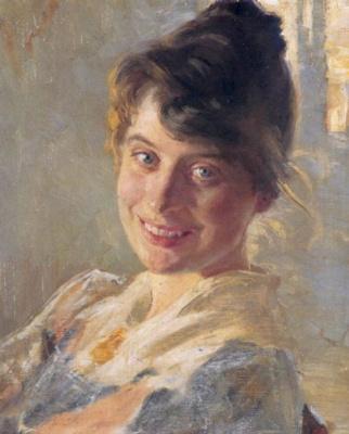 Peder Severin Kreyer. Portrait of the artist's wife Marie
