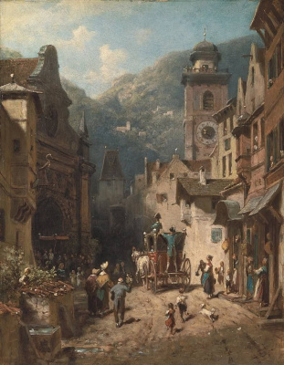 Karl Spitzweg. The visit of the Prince