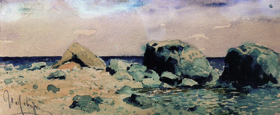 "Isaac Levitan. The seashore and the sea. A sketch for the painting ""sea Coast at Alupka"""