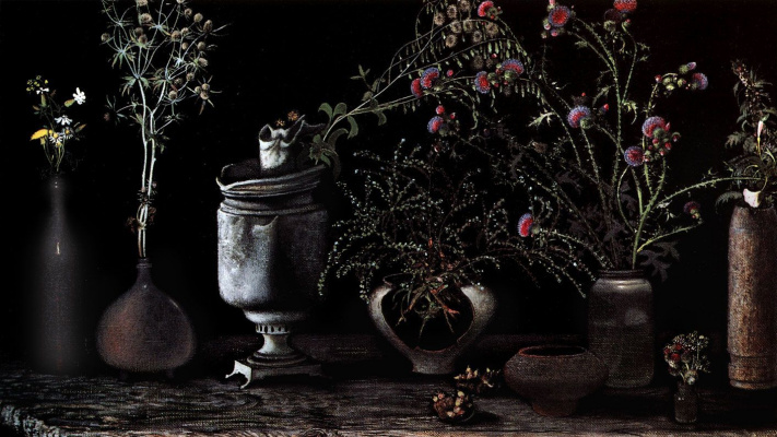 Рашит Талгатович Сафиуллин. Свияжские цветы на чёрном фоне