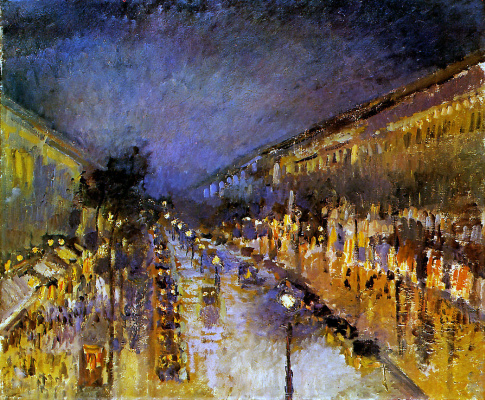 Камиль Писсарро. Бульвар Монмартр ночью