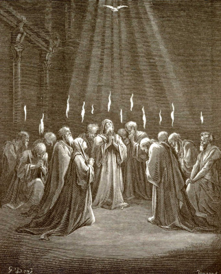 Paul Gustave Dore. Illustration to the Bible: The Descent of the Holy Spirit