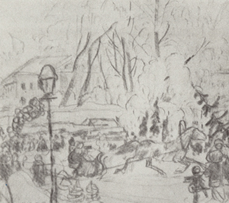 "Boris Mikhailovich Kustodiev. Preparatory drawing for the painting ""Christmas bargain"""