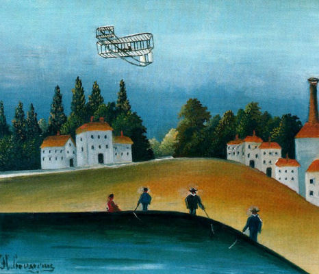 Henri Rousseau. The fishermen and the biplane