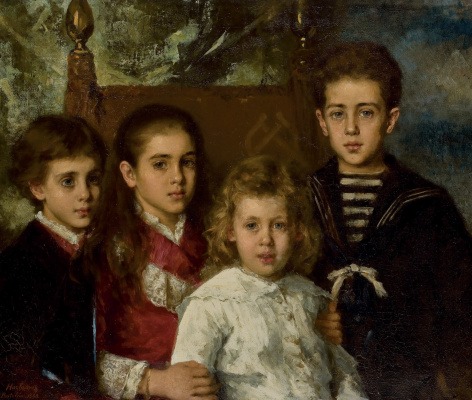 Alexey Alekseevich Kharlamov. Portrait of children of Pavel Pavlovich Demidov, Prince San Donato .. 1883
