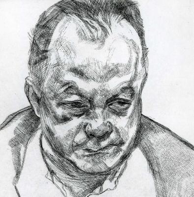 Люсьен Фрейд. Голова Брюса Бернарда
