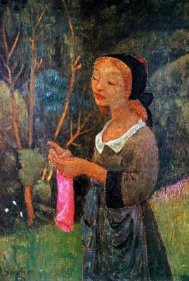 Paul Sérusier. Breton girl knitting