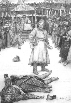 "Victor Mikhailovich Vasnetsov. Fist fight. Illustration to Lermontov's poem ""the Song about Tsar Ivan Vasilyevich, young guardsmen and swashbuckling merchant Kalashnikov"""