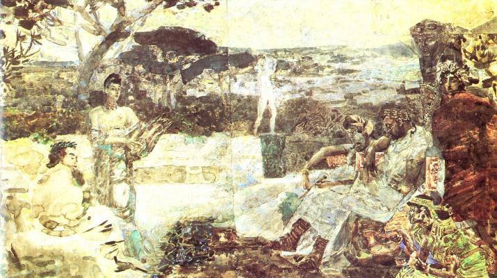 Михаил Александрович Врубель. Италия. Сцены из античной жизни. Эскиз театрального занавеса.
