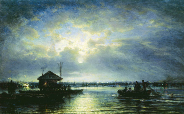 Alexey Petrovich Bogolyubov. Summer night on the Neva near the seaside