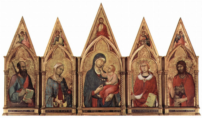 Simone Martini. The altar in the Boston, Madonna blesses Saviour and saints and angels in a field of the tympanum