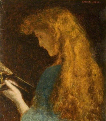Arthur Hughes. Portrait of a girl. Sketch