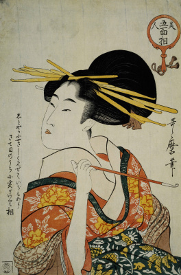 Китагава Утамаро. Гейша с трубкой