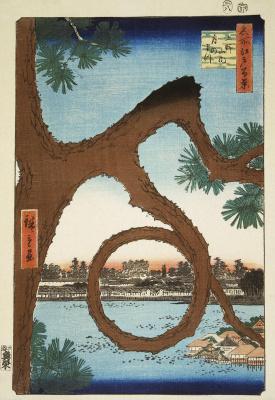 "Utagawa Hiroshige. Moon pine at Ueno. The series ""100 famous views of Edo"""