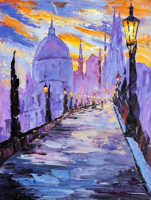 Jose Rodriguez. The Charles Bridge. Lilac tone