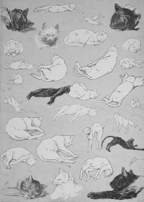 Theophile-Alexander Steinlen. Cats: pictures without words. Laziness