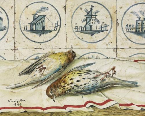 Zuguharu Fujita (Léonard Fujita). Still life with dead birds