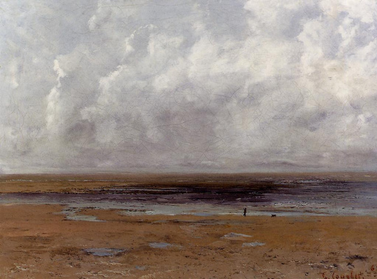 Gustave Courbet. The beach at Trouville at low tide