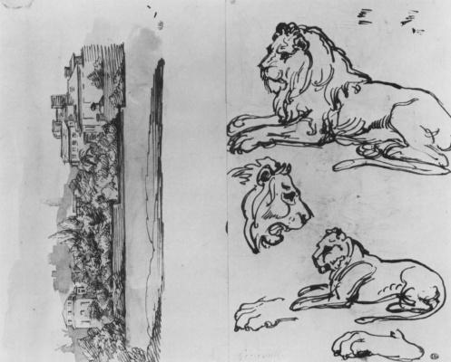 Théodore Géricault. Etudes sheet with landscape and lions