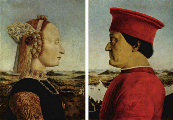 Пьеро делла Франческа. Портрет Федериго да Монтефельтро и Баттисты Сфорца