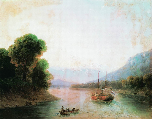 Ivan Aivazovsky. The Rioni River. Georgia