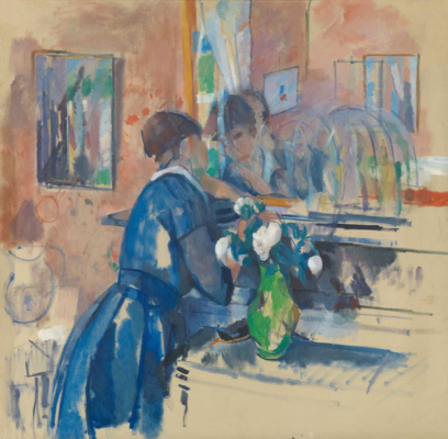 Rick Wouters. Lady in blue in front of a mirror