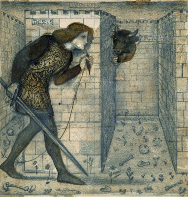 Edward Coley Burne-Jones. Theseus and the Minotaur in the Maze